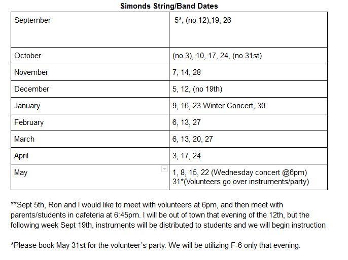 Dates Schedule